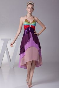 Asymmetrical Colorful Halter Top Tiers Open Back Mother of the Bride Dress