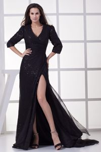Attractive V-neck Long Sleeves Sequined Mother of the Bride Dress with Slit