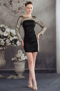 Black and Champagne Mother Of Groom Dress with Long Sleeves