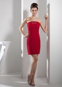 Ruched Short red Sheath Mother of the Bride Dress for Discount