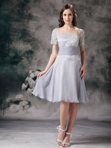 Chiffon Lace Short Sleeves Gray Mothers Dress for Summer Wedding