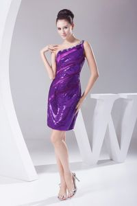 Shimmery Sexy Sequins One Shoulder Purple Mother Bride Dress