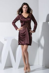 Taffeta Burgundy Mother Bride Dress with V-neck and Long Sleeves
