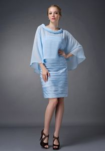 Customized Baby Blue Mothers Dress for Formal Prom with Cape
