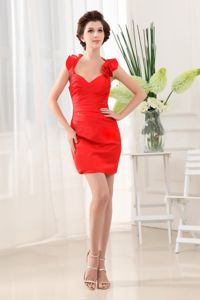 Sexy Red Mini Mother of the Bride Outfits with Flounced Halter