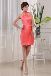 Halter Top Mini-length Coral Red Mothers Dresses for Formal Prom