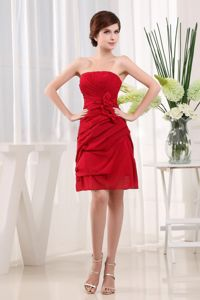 Plus Size Wine Red Short Mother of the Bride Dress with Flowers