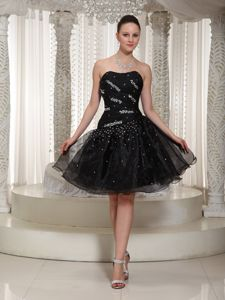Cheap Organza Beaded Short Black Mother of The Groom Dress