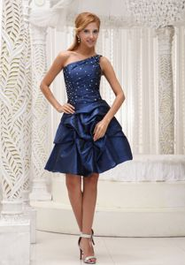 One Shoulder Royal Blue Mothers Dress with Pick-Ups and Beading
