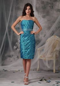 Simple Ruched Beaded Teal Mother of Bride Dress for Wedding Reception