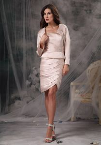 Sheath Strapless Knee-length Mother of Bride Dresses in Ivory