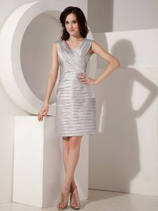 V-neck Mini-length Ruched Gray Mother of Bride Dresses for Formal Prom