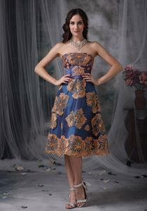 Tea-length Royal Blue Mother Bride Dress with Floral Embroidery
