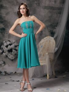 Strapless Knee-length Beaded Turquoise Mother of Bride Outfits