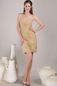 Ruched Champagne Mother Bride Dress for Wedding Reception