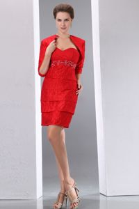Sweetheart Mini Red Mother Bride Dress for Wedding Reception