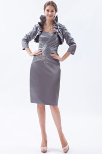 Knee-length Satin Ruched Beaded Gray Mother of Bride Dresses