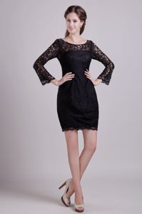 Scoop Neck Long Sleeves Black Lace Mother of the Bride Dresses