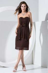 Chiffon Brown Short Mother Bride Dress for Wedding Reception