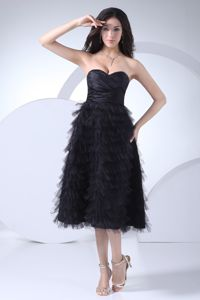 Simple Tea-length Ruffled Black Mother of Bride Dresses for Formal Prom