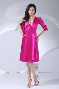Girly Fuchsia Short Mother of Bride Dress with 1/2 Puffy Sleeves