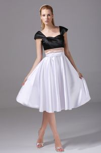 Cap Sleeves Mother of Bride Dress for Formal Prom in Black and White