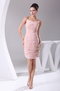Plus Size Ruched Beaded Pink Short Mother of The Groom Dress