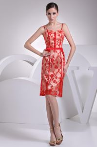 Girly Short Red Lace Mother of Bride Dress with Spaghetti Straps