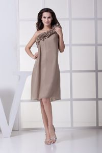 2013 Loose Style One Shoulder Gray Short Mother of Bride Dress