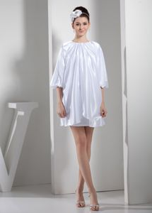 Loose Style Round Neck Half Sleeves White Mother of Bride Dress 2013