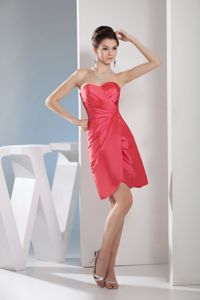 New Sweetheart Ruched Watermelon Red Mother of Bride Dress