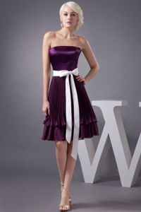 Hot Sale Pleated Eggplant Purple Mother of Bride Dress with Sash