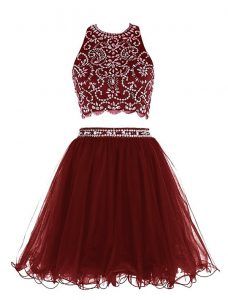 Scoop Burgundy Sleeveless Chiffon Clasp Handle Mother of the Bride Dress for Prom and Party