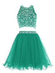 Admirable Green Clasp Handle Scoop Beading Mother of Groom Dress Chiffon Sleeveless