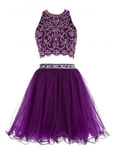 Dramatic Scoop Sleeveless Chiffon Mini Length Clasp Handle Mother of the Bride Dress in Purple with Beading
