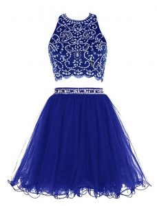 Scoop Sleeveless Mini Length Beading Criss Cross Mother Of The Bride Dress with Royal Blue