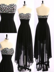 Stunning Black Zipper Sweetheart Beading Mother of the Bride Dress Chiffon Sleeveless