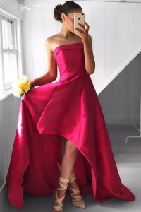 Satin Sleeveless Asymmetrical Mother of Groom Dress and Pleated