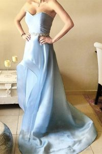 Latest A-line Mother of the Bride Dress Light Blue Sweetheart Organza Sleeveless Asymmetrical Zipper