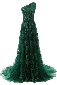 Custom Fit Dark Green Zipper One Shoulder Beading and Appliques Mother Of The Bride Dress Tulle Sleeveless Sweep Train