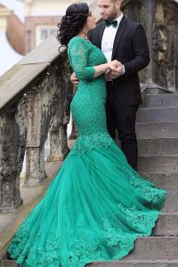Fashion Mermaid With Train Lace Up Mother Dresses Green for Prom with Beading and Appliques Chapel Train