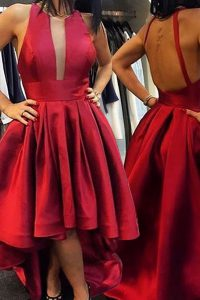 Scoop Asymmetrical Zipper Juniors Evening Dress Red for Prom with Pleated