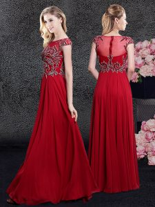 Noble Red Zipper Scoop Appliques Mother Of The Bride Dress Chiffon Cap Sleeves