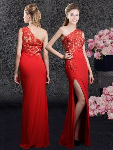 One Shoulder Red Side Zipper Mother Of The Bride Dress Lace and Appliques Sleeveless Floor Length