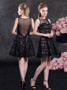 Lace Mini Length A-line Sleeveless Black Mother Of The Bride Dress Side Zipper