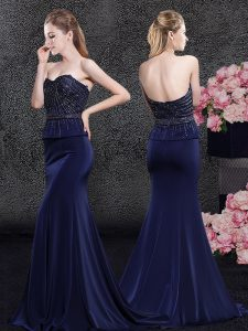 Navy Blue Mermaid Beading Mother Of The Bride Dress Zipper Satin Sleeveless With Train