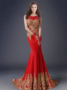 Stunning Mermaid Scoop Red Side Zipper Mother of Groom Dress Appliques Sleeveless With Brush Train