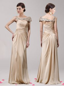 Designer Champagne Side Zipper Mother of the Bride Dress Beading Sleeveless Floor Length
