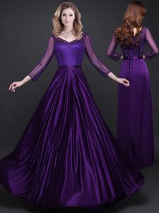 Elastic Woven Satin Long Sleeves Floor Length Mother of Groom Dress and Appliques and Belt
