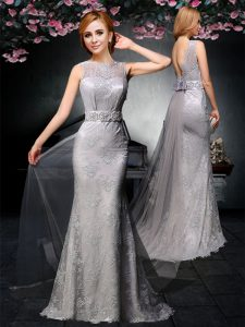 Grey Bateau Backless Lace and Belt Mother of Groom Dress Watteau Train Sleeveless